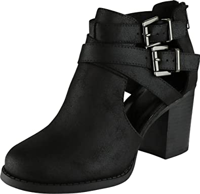 c01fdb014758 Cambridge Select Women s Buckle Side Cut Out Chunky Stacked Heel Ankle  Bootie (5.5 B(