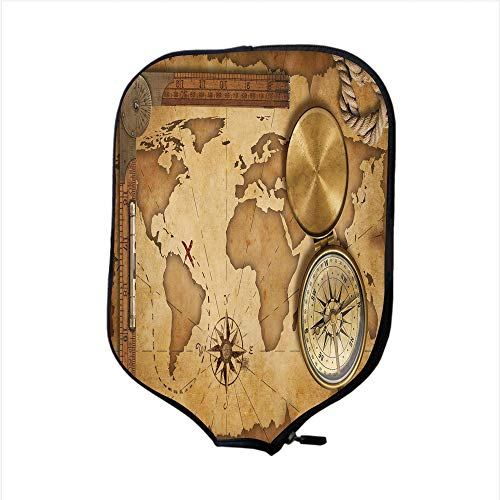(iPrint Neoprene Pickleball Paddle Racket Cover Case,Map,Aged Vintage Treasure Map Ruler Rope Old Compass Antique Adventure Discovery,Brown Light Brown,Fit for Most Rackets - Protect Your Paddle)