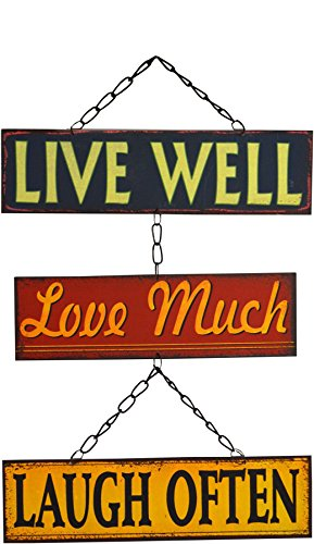 (Nicola Spring Hanging Metal 3 Panel Wall Plaque - Live Well, Love Much, Laugh)