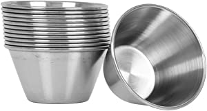(12 Pack) 3 oz Sauce Cups, Commercial Grade Stainless Steel Dipping Sauce Cups, Individual Condiment Cups/Portion Cups/Ramekins by Tezzorio