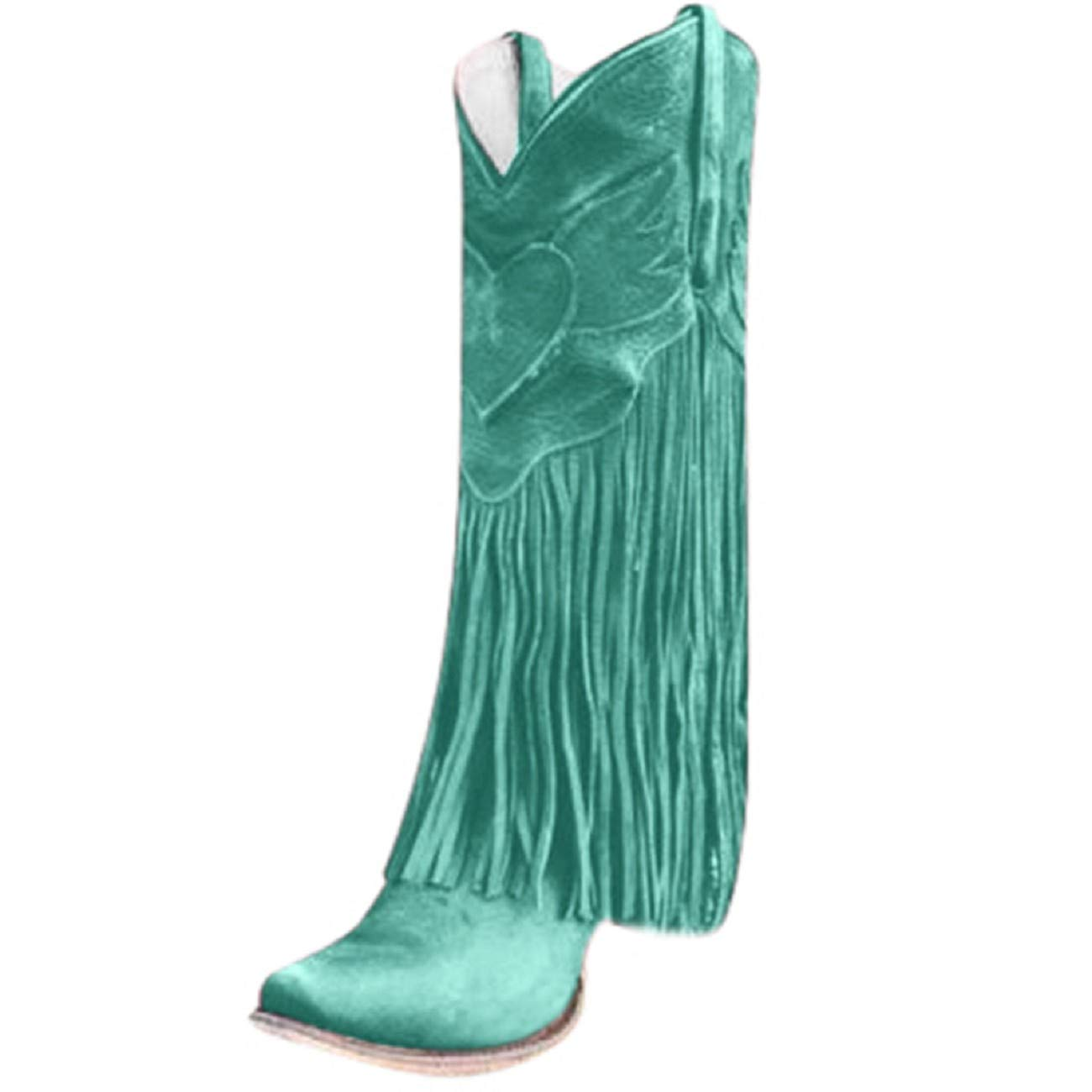 Tsmile Women Pull Up Tabs Boots Stylish Tassel Pointed Toe Stacked Low Heel Shoes Fringe Cowgirl Western Booties Green by Tsmile Winter