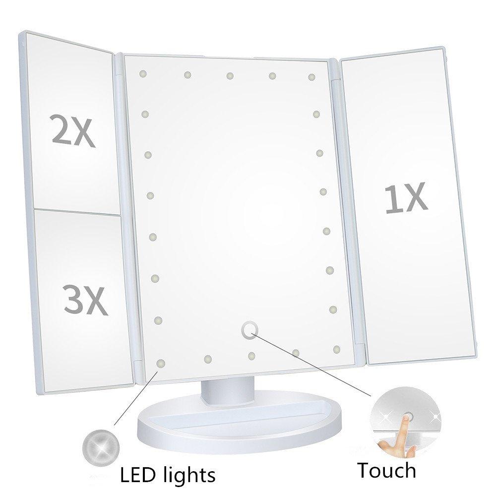 Abcret 22LED Specchio illuminato per trucco trifold con touch screen, Ingrandimento 1x / 2x / 3x e caricamento USB, supporto regolabile a 180 ° per trucco cosmetico da supporto regolabile a 180 ° per trucco cosmetico da