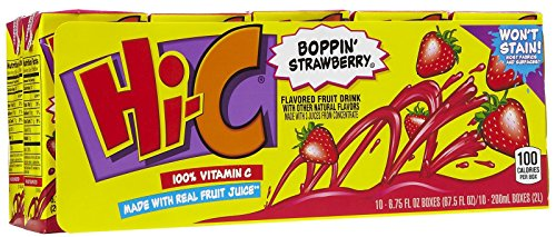 Hi-C Boppin' Strawberry Flavored Fruit Drink - 10 - Hic Fruit Punch