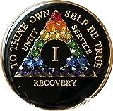 1 Year Black Rainbow Swarovski Crystal Tri-Plate AA Medallion Chip