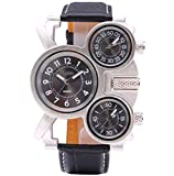 Oulm Men's Wrist Watch Mickey Mouse Design 3 Dials Different Time Display Genuine Leather Band