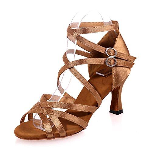 Dancing YC Latin Ballroom Femme Ballroom Sandals brown Chaussures Satin L Couleur dBxqtwt