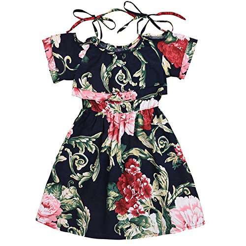 Toddler Kid Baby Girls Dress Pleated Off-Shoulder Printed Flower Skirt Clothes (5-6 (Blend Pleated Dress)