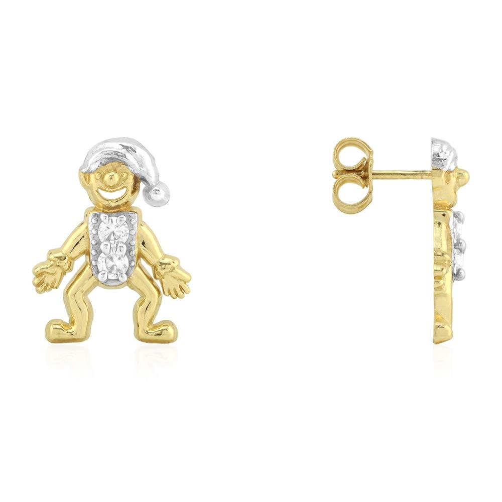 10k Yellow Gold Joker Jester Created Diamond Pushback Stud Earrings 0.30Ct