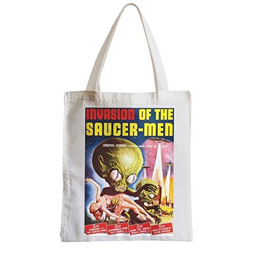 Große Tasche Sack Einkaufsbummel Strand Schüler Alien Invasion der UFO-Männchen Cinema Film Vintage T E