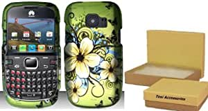 Hawaiian Flowers Hard Snap On Case Cover Faceplate Protector for Huawei Pinnacle 2 M636 Metro Pcs + Free Texi Gift Box