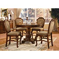 ACME 040482-SET Chateau de Ville 5-Piece Counter Height Dining Set, Table/4 Chairs, Cherry Finish