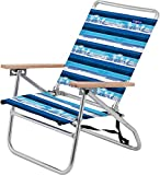 JGR Copa 3-Position Striped Palm Tree Beach Chair One Size Blue/White