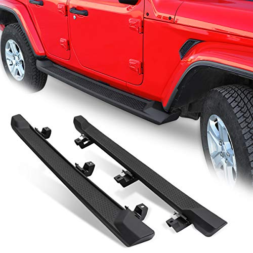 (Modifying Running Boards Door Side Steps Nerf Bar Rocker Clawer Off Road Texture Set for 2018 2019 Jeep Wrangler JL 4 Door (Black))