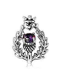 WithLoveSilver 925 Sterling Silver Scottish Style Thistle Heart Round Simulated Purple Cubic Zirconia Pendant