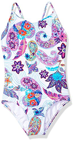 Kanu Surf Little Girls' Daisy Beach Sport 1-Piece Swimsuit, Melody White Paisley, 6X
