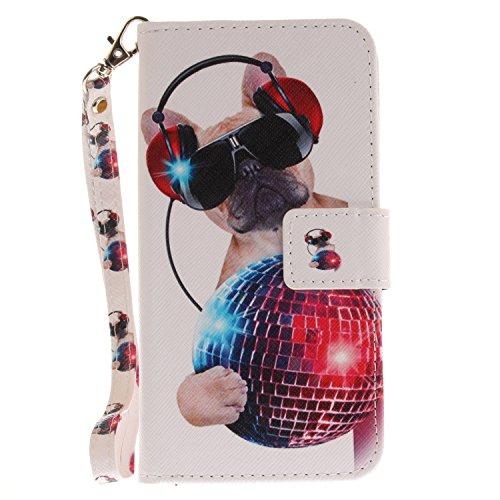 Funda Asus Zenfone 3 ZE520KL,SainCat Funda de cuero sintético tipo billetera con correa de cordón de Suave PU Carcasa Con Tapa y Cartera,Ranuras para Tarjetas y Billetera Funda de Flip Ranuras Tarjeta Perro de moda