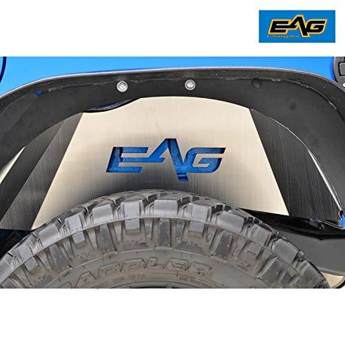 (EAG Rear Inner Fender Liner Kit Silver Aluminum Fit for 07-18 Jeep Wrangler JK)