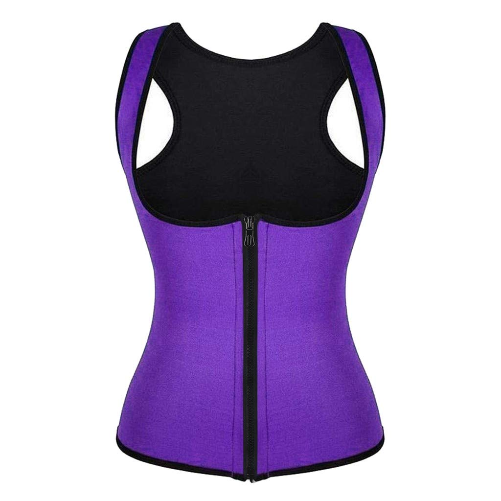 Women Waist Trainer Vest Slim Corset Neoprene Sauna Tank Top Zipper Weight Loss Body Shaper Shirt Waist Trainer Corset U-Neck Zipper Vest Body Shaper Cincher Tank Top