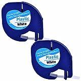 2XCompatible Dymo LetraTag 91201 Black on White (12mm x 4m) Plastic Label Tapes for Dymo LetraTag LT-100H, LT-100T, LT-110T, QX 50, XR, XM, 2000, Plus Label Makers (2)