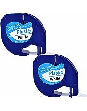 2XCompatible Dymo LetraTag 91331 S0721660 Black on White (12mm x 4m) Plastic Label Tapes for Dymo LetraTag LT-100H, LT-100T, LT-110T, QX 50, XR, XM, 2000, Plus Label Maker
