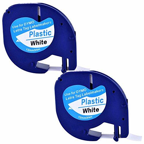2XCompatible Dymo LetraTag 91201 Black on White  Plastic