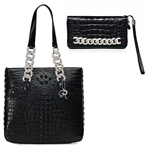 Raviani Black Crocodile Embossed Cowhide Leather Handbag W/Silver Crystal Chain Shoulder Strap