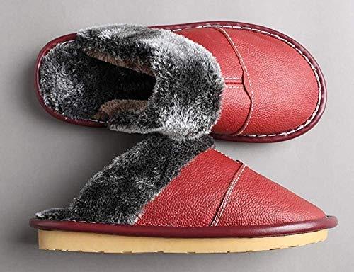 Oudan antidérapante pour 37 l'hiver Pantoufles orange en taille femmes couleur peluche pour rouge BwRdwOxFq