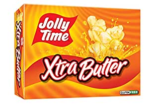 Jolly Time Xtra Butter Gluten-Free & Trans-Fat Free Extra Buttery Microwave Popcorn, 3-Count Boxes (Pack of 12)