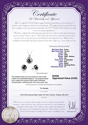 PearlsOnly - Kelly Black 9-10mm AA Quality Freshwater 925 Sterling Silver Cultured Pearl Set by PearlsOnly (Image #3)