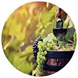 Round Rug Mat Carpet,Wine,Agriculture Country Theme Natural Landscape Product Alcoholic Drink Fruit Decorative,Light Green Black Brown,Flannel Microfiber Non-slip Soft Absorbent,for Kitchen Floor Bath