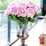 Kicode Peony Flowers Artificial Flower Bouquet Plastic Silk Multi-Color
