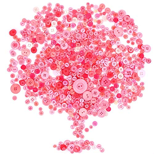 (Rustark 650Pcs Resin Buttons Favorite Findings Basic Buttons 2 and 4 Holes Craft Buttons for Arts, DIY Crafts, Decoration, Sewing - Sizes Range from 0.28 to 1.18 Inch (Pink) )