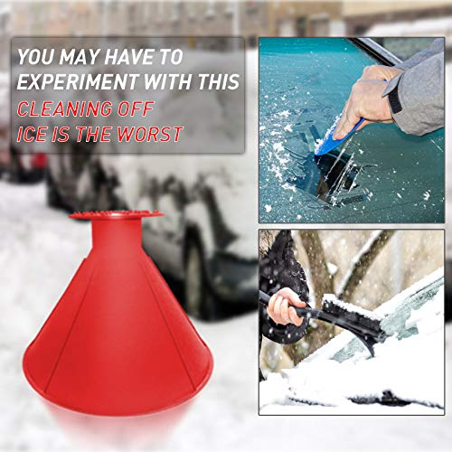 Sherineo Car Windshield Ice Scraper Tool Cone Shaped Outdoor Round Funnel Snow Removal Tool Scraper Snow Shovel Cone Funnel Icebreaker Snow Remover Tool for Car Windows Black