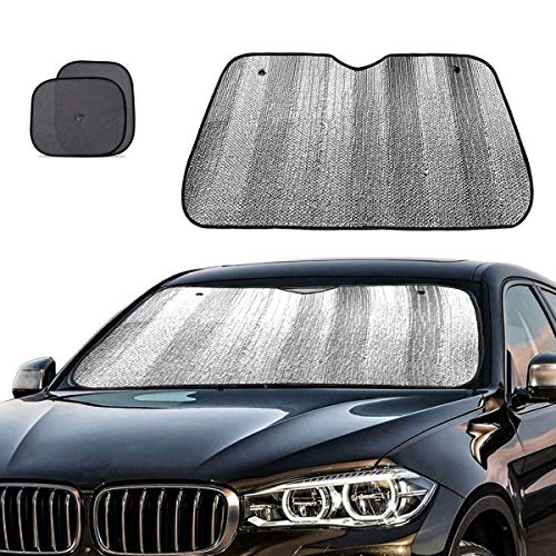 (Big Ant Windshield Sun Shade + Bonus Car Window Sun Shade -Best Car Sun Shade to Keeps Vehicle Cool-UV Ray Protector Sunshade Fit for Cars SUV Trucks Minivans(55.1 x 27.5 inches))