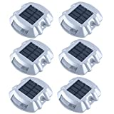 Solar Dock Light Waterproof Cast Aluminum Solar Deck Light 6LED Auto On/Off Security Warning Light for Driveway Path Step Pool Patio Garden 6 Pack (White Light)