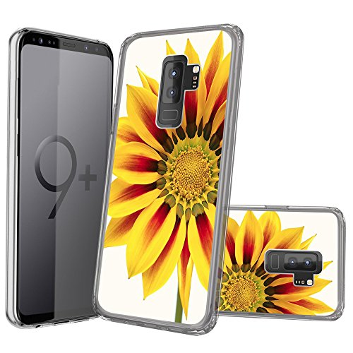 Premium MINITURTLE Ultra-Clear Case Compatible with Samsung Galaxy S9 Plus [Flex Fusion Crystal Clear Case] Flexible Clear Cover - Yellow Sunflower