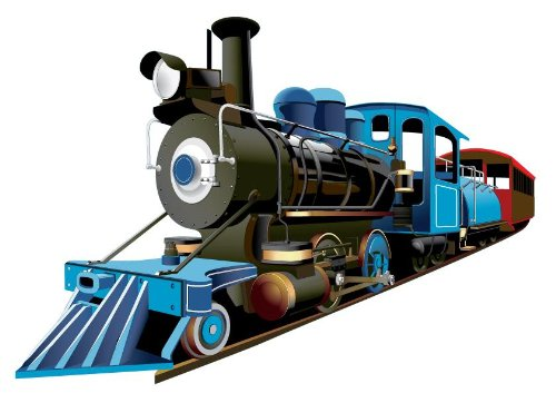 Wallmonkeys Blue Steam Engine Train Wall Decal Peel and Stick Graphics for Kids (12 in W x 8 in H) WM87584