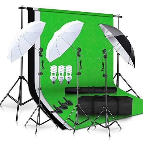 SH Photo Studio Double Off Camera Speedlight Flash Umbrella Kit, Photography Tripod Brackets for Photography Photo Video Studio Lighting Flash Translucent White Soft Umbrella from SH