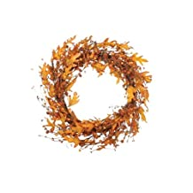 Fantastic Craft Pumpkin and Leaf Wreath, 20-Inch, Orange