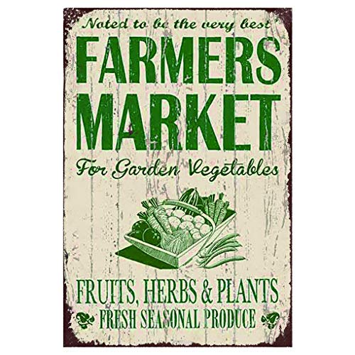Sylty AnnaStoree Metal Signs Farmers Market for Garden Vegetables Retro Vintage Chic Style Decorative Old Metal Signs for Farm Wall Decor Gift 8x12 Inch ()