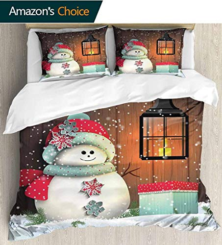 Christmas Full/Queen Size Quilt Bedding Set,Cute Snowman with Santa Hat in the Garden with a Gift Box and Lantern Image 3 Piece Bedding Quilt Coverlets - 100% Cotton Bed Quilts Coverlet 68