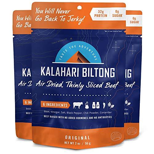 Kalahari Biltong   Air-Dried Thinly Sliced Beef   Original   2oz (Pack of 3)   Zero Sugar   Keto & Paleo   Gluten Free   Better than Jerky