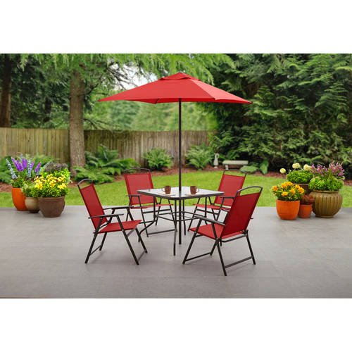 Mainstays Albany Lane 6-Piece Folding Seating Set: Red (Furniture Set Patio Dining Folding)
