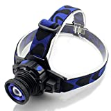 LED Headlamp Zoomable Headlight - Genwiss Lightweight Head Lamp Miner Mining Light 500 lumen 5W with Rechargeable Batteries, Car Charger, Wall Charger for Camping Biking Hunting Fishing Outdoor