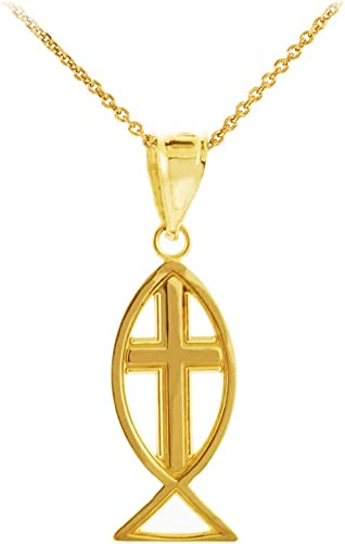 Charms for Bracelets and Necklaces 10k Yellow Gold Ichthus Charm With Lobster Claw Clasp