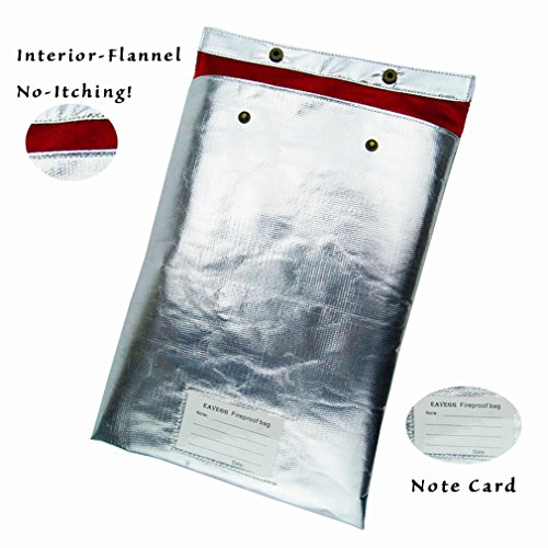 "15""x11"" Fireproof Safe Waterproof bag with Flannel Material, Protect hand No More Itching, Withstand Over 1000°F in home and office Protect cash money stamp letter document and Valuable things"