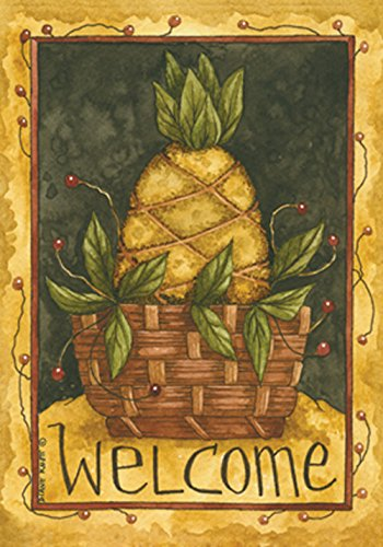 (Toland Home Garden Pineapple Basket 28 x 40 Inch Decorative Americana Fruit Welcome House Flag)