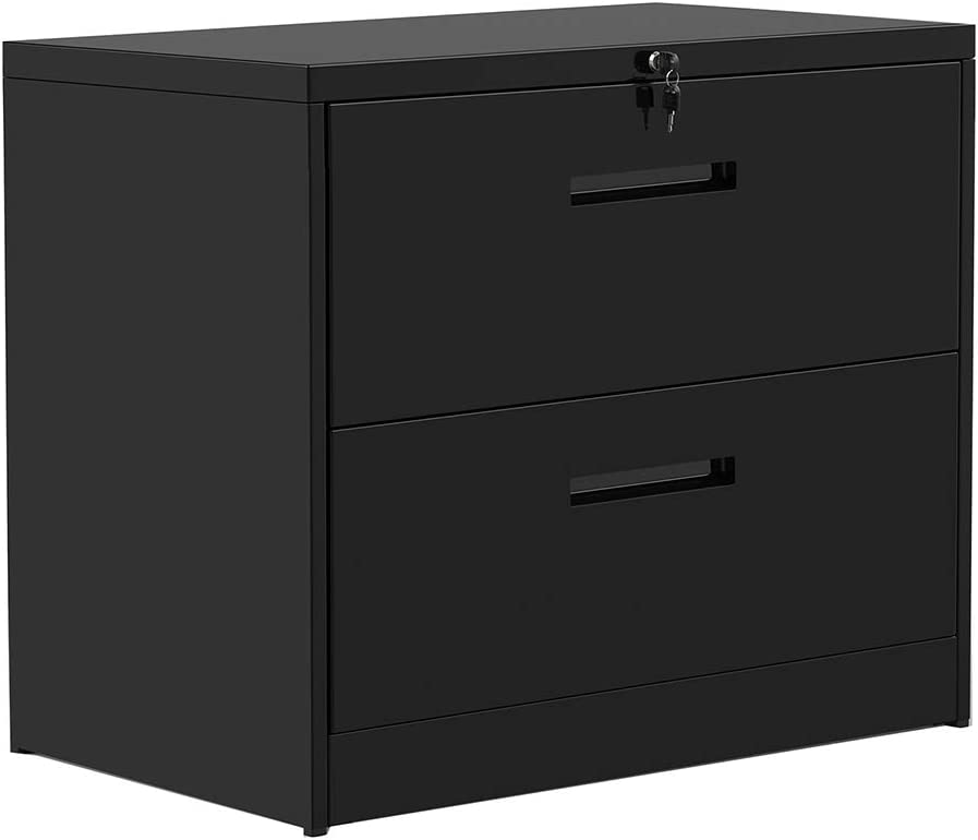 Lateral Filing Cabinet, Rockjame 2 Drawer Metal Lockable File Cabinet for Commercial Grade Office Legal and Letter File (Black)