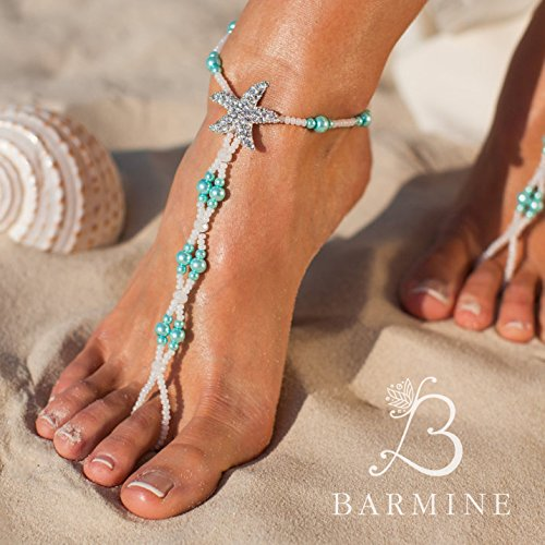 5f4547176 Amazon.com  Maldives Beach wedding barefoot sandals Bridal foot jewelry  Starfish barefoot sandals Bridal shoes Footless sandals Something Blue  Anklet  ...