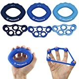 PROCIRCLE Hand Grip Strengthener & Finger Stretcher - Strength Trainer for Forearm Exercise, Guitar Finger Strengtheners and Rock Climbing Grips Workout - set of 6